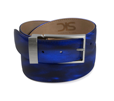 Blue polished leather belt with opaque buckle