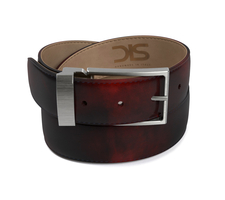 Burgundy polished leather belt with opaque buckle