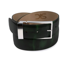 Green polished leather belt with silver buckle