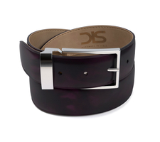 Violet polished leather belt with silver buckle
