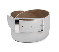 White grain leather belt with silver buckle