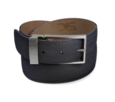 Blue grain leather belt with opaque buckle