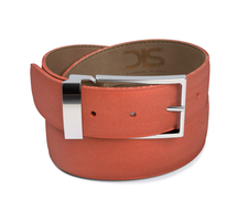 Tan grain leather belt with silver buckle