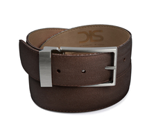 Coffee grain leather belt with opaque buckle
