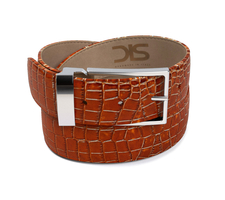 Tan crocodile leather belt with silver buckle