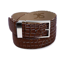 Dark nrown crocodile leather belt with silver buckle