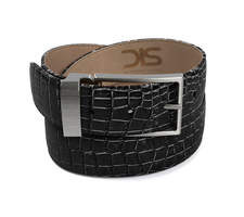 Black crocodile leather belt with opaque buckle