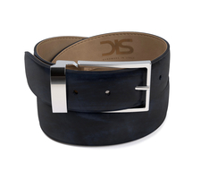 Navy deco leather belt with silver buckle
