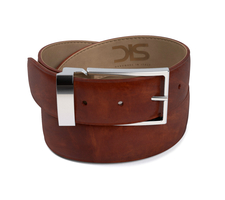 Tan deco leather belt with silver buckle