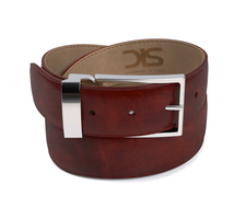 Dark brown deco leather belt with silver buckle