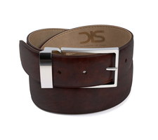 Coffee deco leather belt with silver buckle