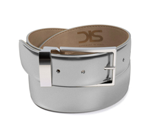 Shiny laminated silver leather belt with silver buckle