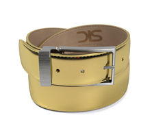 Shiny laminated gold leather belt with opaque buckle