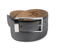 Patent black leather belt with silver buckle