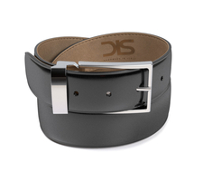 Black shiny leather belt with silver buckle