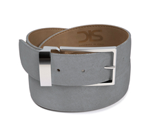 Grey suede leather belt with silver buckle