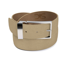 Sand suede leather belt with silver buckle