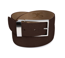 Coffee suede leather belt with silver buckle