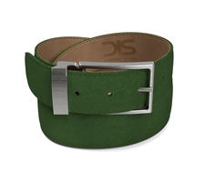 Green suede leather belt with opaque buckle
