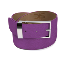 Violet suede leather belt with silver buckle