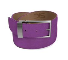 Violet suede leather belt with opaque buckle