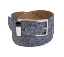 Pattern blue damask leather belt with silver buckle