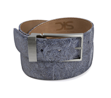 Pattern blue damask leather belt with opaque buckle