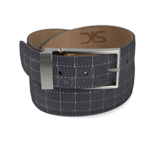 Pattern ninja glass black leather belt with opaque buckle
