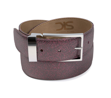 Pattern stardust fuxia leather belt with silver buckle