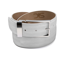 White calf leather belt with silver buckle