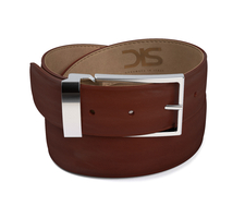 Brown calf leather belt with silver buckle