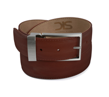 Brown calf leather belt with opaque buckle
