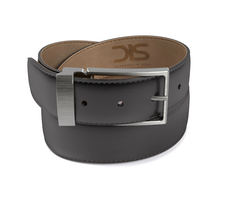 Black calf leather belt with opaque buckle