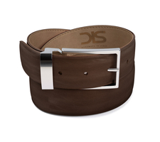 Coffee calf leather belt with silver buckle