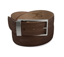 Coffee calf leather belt with opaque buckle