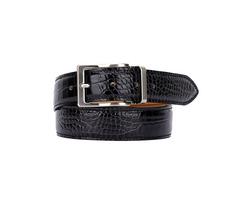 Leather Belt - Crocodile Pattern Black