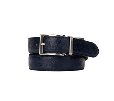 Leather Belt - Damask Blue