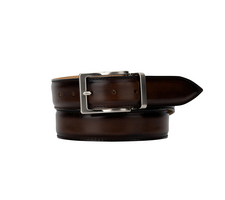 exclusive leather belt - deco dark brown
