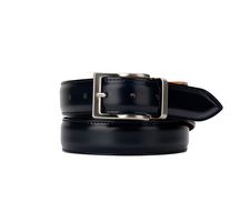 Leather Belt  -  Shiny Deep Navy