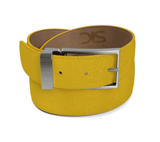 Sun suede leather belt with opaque buckle