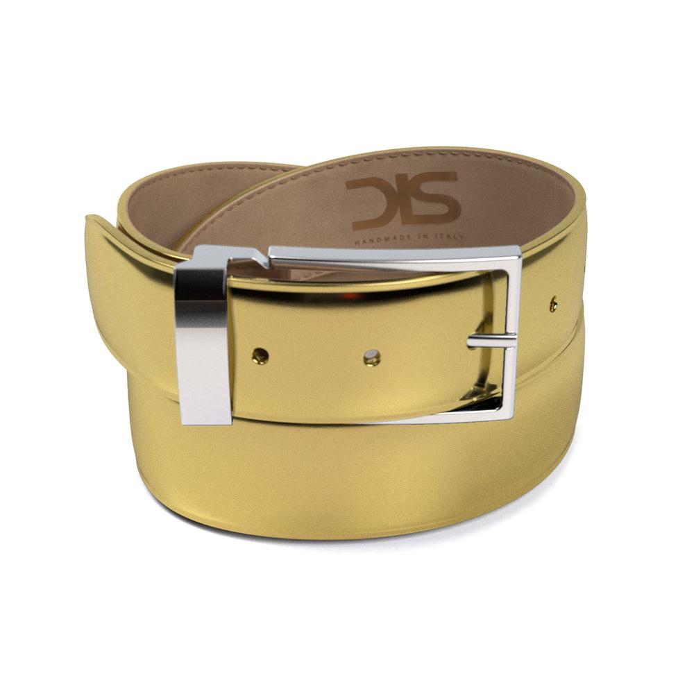 Cinta in pelle lucida laminato oro con fibbia argentata