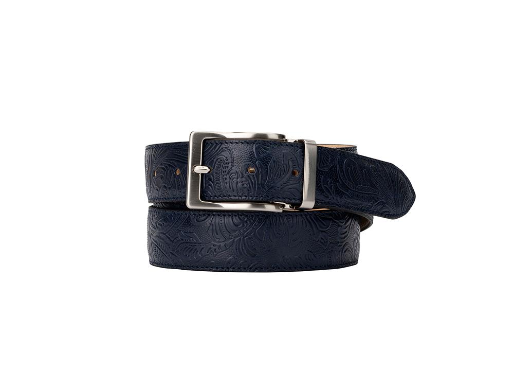 Leather Belt - Damask Blue