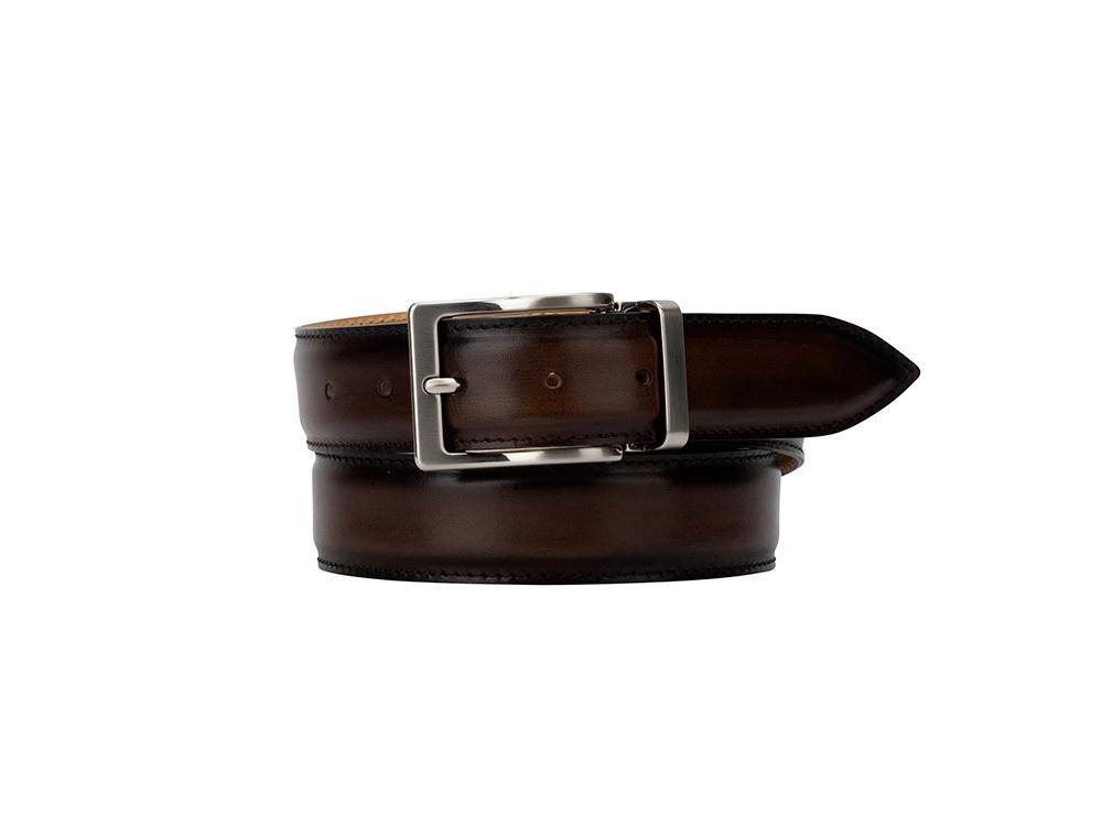 exclusive leather belt - deco dark brown
