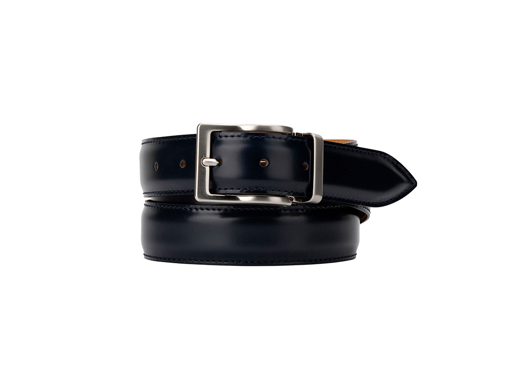 Leather Belt  -  Shiny Deep Navy