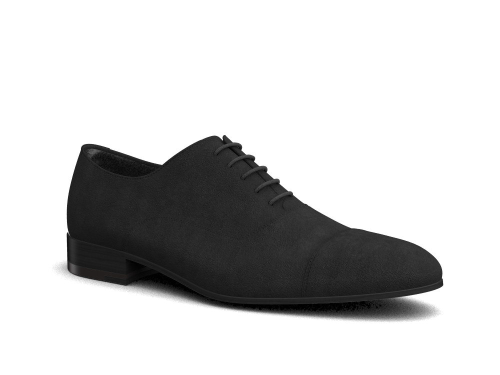 black suede leather men oxford toe cap