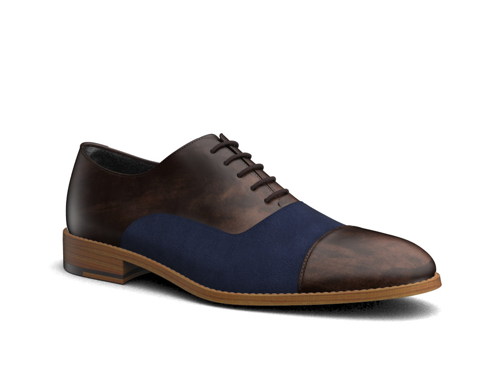 two tone brown deco blue suede leather men toe cap