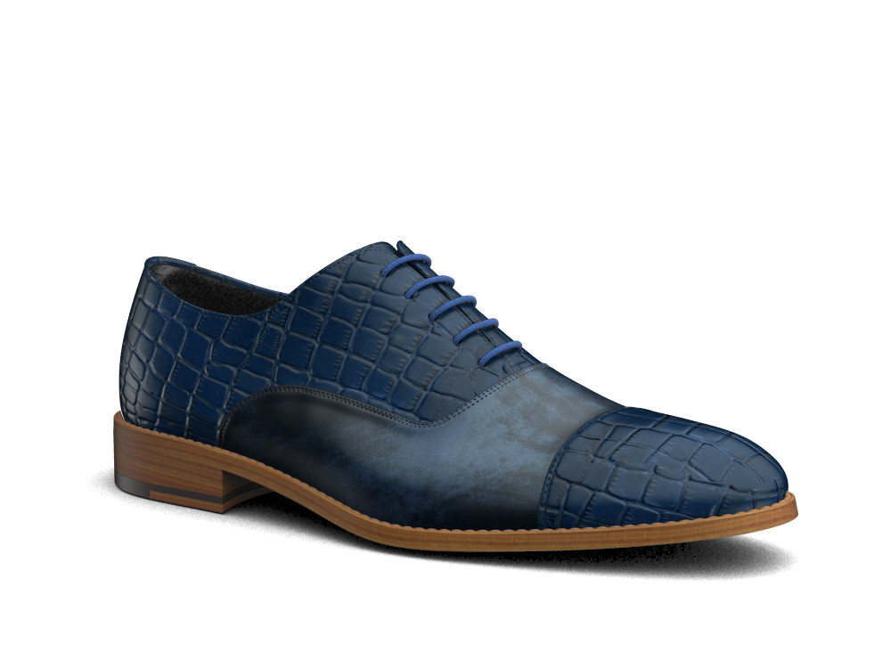 blue crocodile printed leather men toe cap