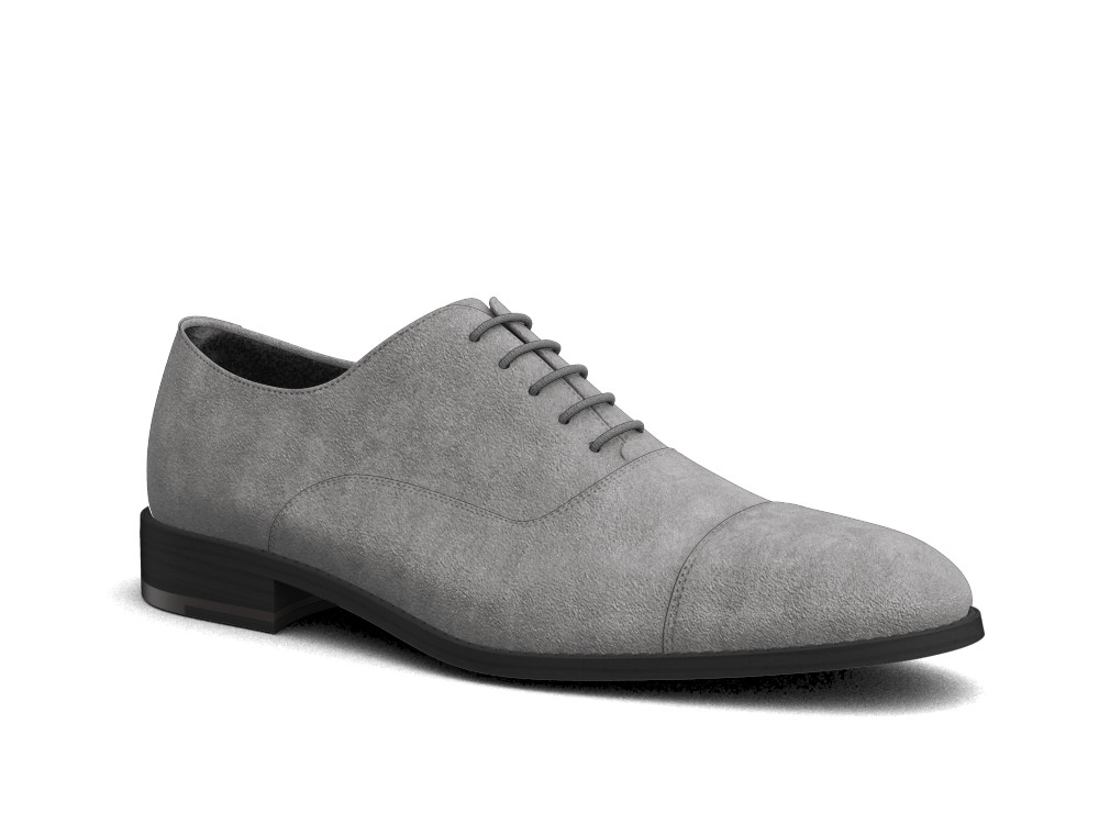 grey suede leather men oxford toe cap