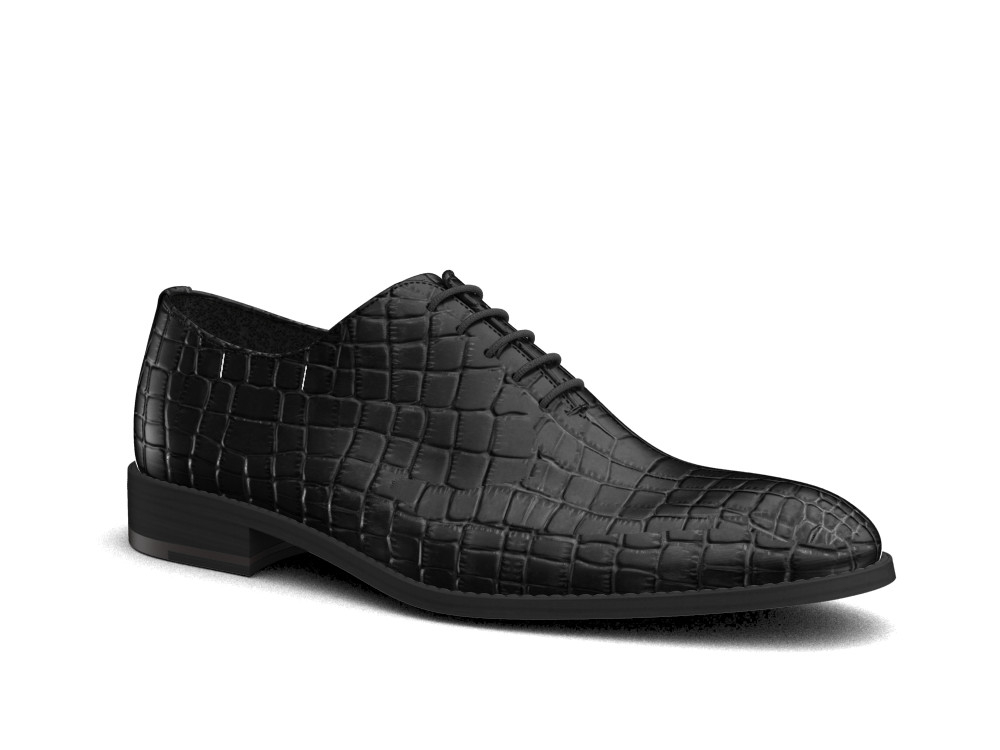 black crocodile leather men oxford plain