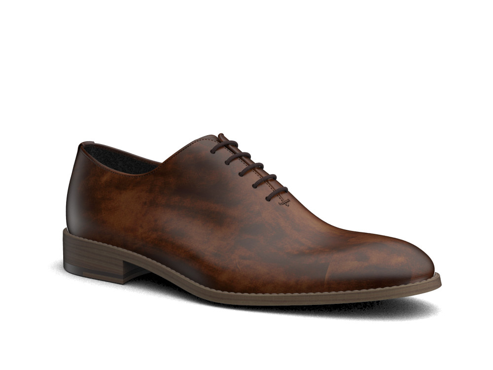 brown decò leather men oxford plain